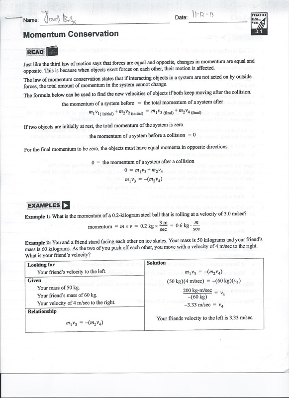 Worksheets Momentum Worksheet Answer Key momentum conservation practice 3 1 11 8 13 picture