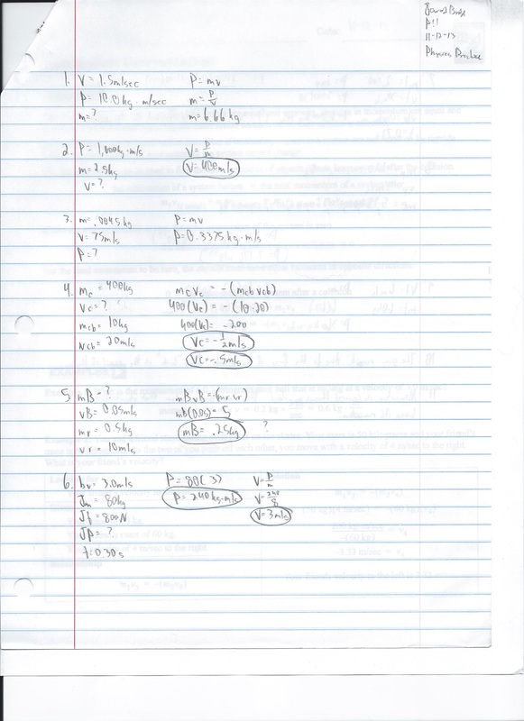 Momentum Conservation Practice 3.1 (11-8-13)